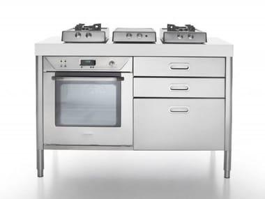 cucina a libera installazione in acciaio inox cottura 130