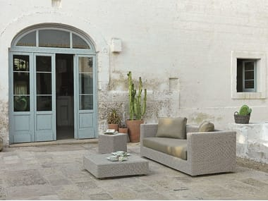 3 seater Ethimo EtWick® sofa CUBE | Sofa