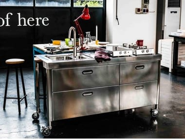 """Brushed steel kitchen unit CUCINA 160  """"OUT OF HERE"""""""