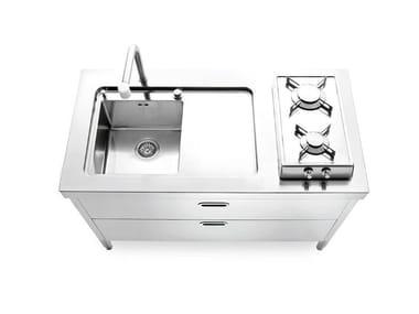 Brushed steel kitchen unit CUCINE 130