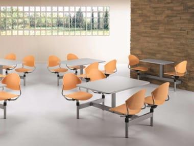 Tavolo per spazi pubblici rettangolare in polipropilene con sedie integrate DELFI D800