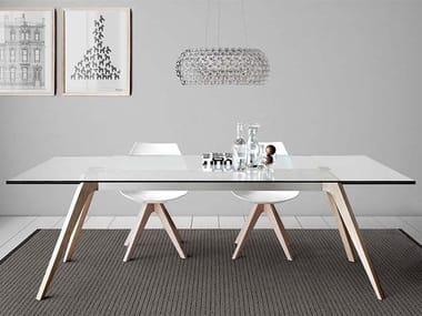 Tavolo allungabile rettangolare in legno e vetro DELTA
