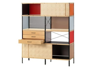 Laminate highboard with sliding doors EAMES STORAGE UNIT BOOKCASE