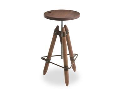 Banqueta giratória de madeira ajustável em altura ELLO