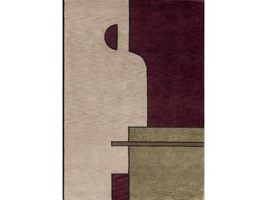 Tappeto fatto a mano quadrato rettangolare in lana FACE ONE | Tappeto in lana