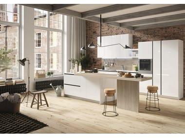 Einbauküche im modernen Stil mit Kücheninsel mit Halbinsel FIRST | Küche im modernen Stil