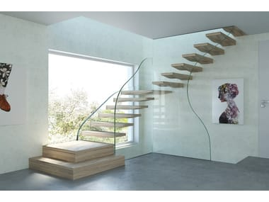 FLOATING WAVES | Wood And Glass Cantilevered Staircase