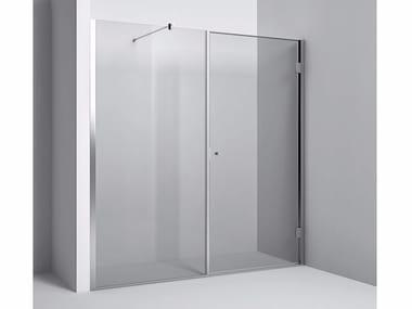 Chiusura doccia a nicchia con vetro fisso e anta battente Chiusura vetro fisso con anta battente