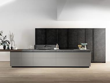 Kitchen in matt glass and Cardoso stone drawer GENIUS LOCI - CARDOSO STONE