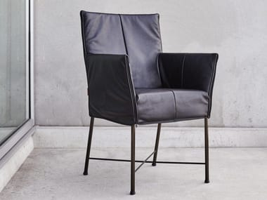 Upholstered leather chair with armrests GERALDINE   Leather chair
