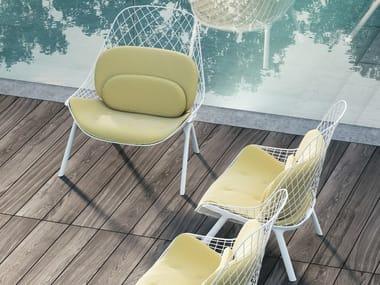 Powder coated steel garden armchair with armrests GRAN KOBI - 035_O