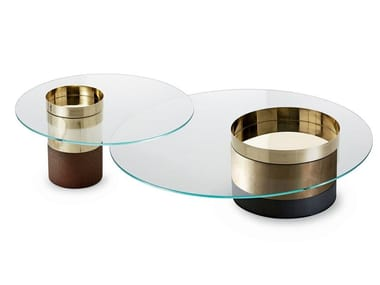 Low tempered glass and brass coffee table HAUMEA | Low coffee table