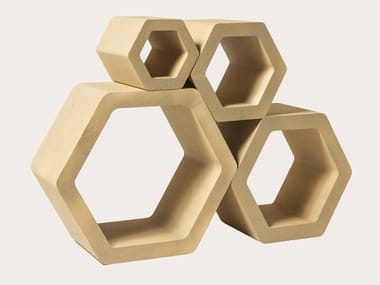 Libreria / portabottiglie in Poly Mass® HEXAGON