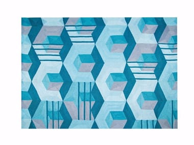Rectangular polyester rug with geometric shapes HEXAGONE