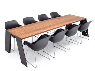Table de réunion rectangulaire en iroko HOPPER | Table de réunion