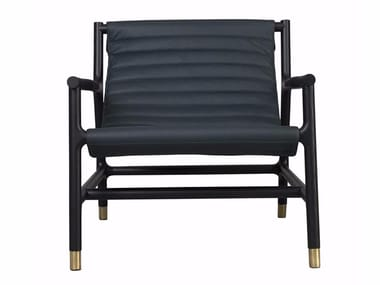 Leather easy chair with armrests JOYCE