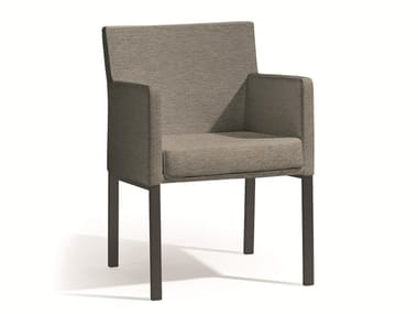 Fabric garden chair with armrests LINER | Armchair