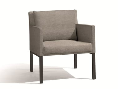 Fabric garden armchair with armrests LINER | Lounge chair