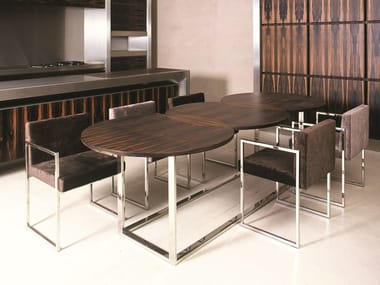 Stainless steel and wood table LONDRA