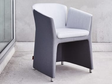 Upholstered fabric chair with armrests LOTUS