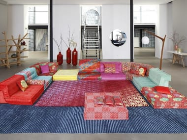Sectional modular fabric sofa MAH JONG - KENZO TAKADA