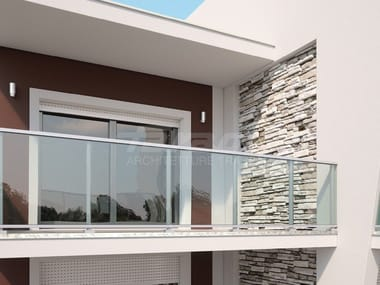 Glass and aluminium balustrade MAIOR COLORS ONE