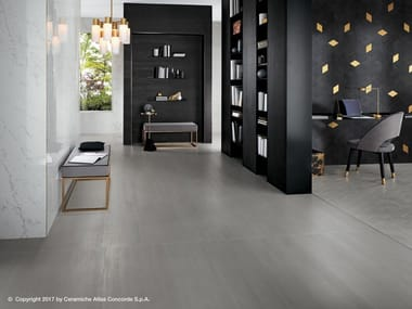 Porcelain stoneware flooring with concrete and metal effect MEK FLOOR