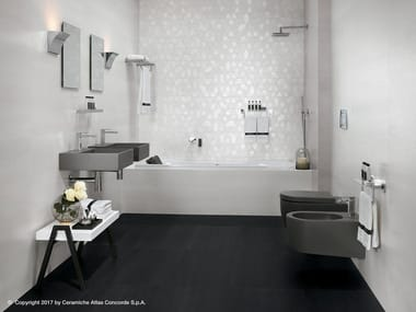 White-paste wall tiles with concrete and metal effect MEK WALL | Wall tiles
