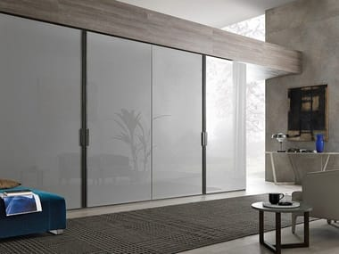 Sectional lacquered wardrobe with coplanar doors MILANO | Lacquered wardrobe