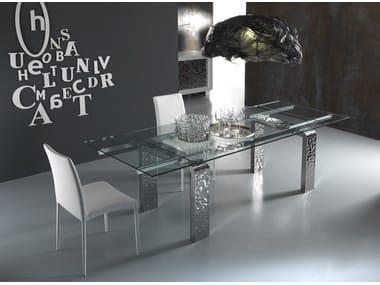 Tavoli In Cristallo Allungabili Ovali.Tavolo Ovale Allungabile Vetro Anassimene Tavolo Di Design In Legno
