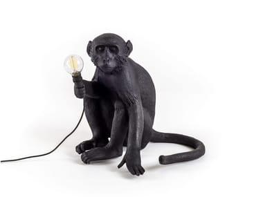 Lampe de table LED en résine MONKEY LAMP BLACK | Lampe de table
