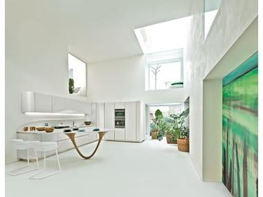 Cucina componibile in stile moderno con maniglie integrate con penisola OLA 20 | Cucina con penisola