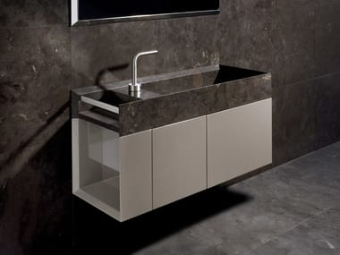 Wall-mounted marble vanity unit with doors ONSEN | Vanity unit