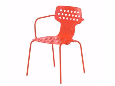 Stackable stainless steel garden chair with armrests OPEN CHAIR - 080_O
