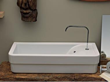Countertop rectangular ceramic handrinse basin OPERA | Countertop handrinse basin