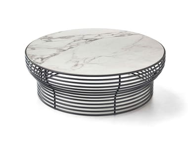 Round glass and steel coffee table ORION