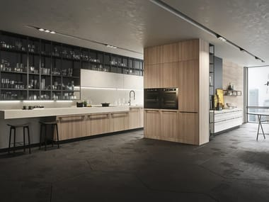Linear fitted kitchen with handles OPERA   Linear kitchen