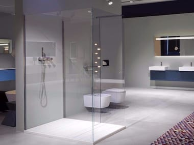 Tempered glass shower cabin with tray PENISOLA