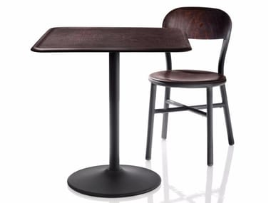 Table ronde en placage de bois PIPE | Table