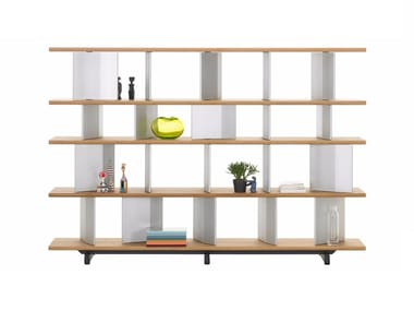 Open solid wood bookcase PLANOPHORE