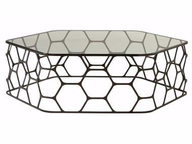 Glass and steel coffee table POLLEN