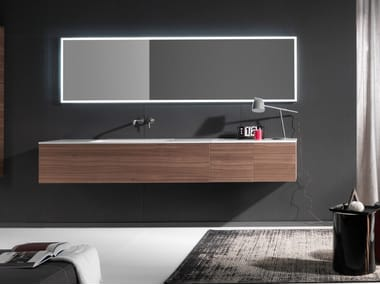 Wall-mounted wooden vanity unit with drawers PURE | Wooden vanity unit