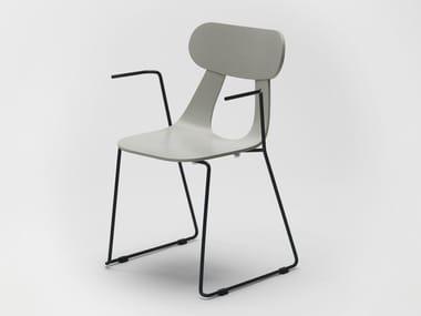 Chaise luge empilable en bois avec accoudoirs RAPA METAL