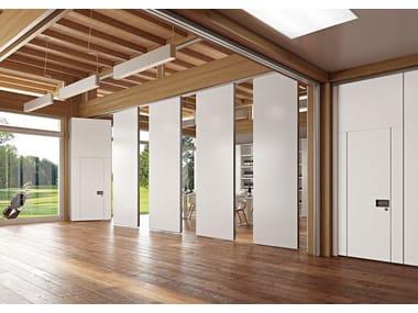 Mampara divisoria móvil con puertas corredizas de oficina ROLLING WALL MONOCARRELLO | Mampara divisoria móvil