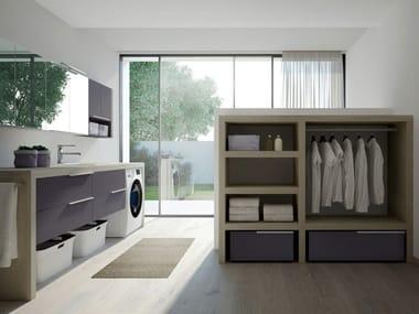 Modulares Waschküche-Schrank mit integriertem Waschbecken für Waschmaschine SPAZIO TIME 05 | Waschküche-Schrank mit integriertem Waschbecken