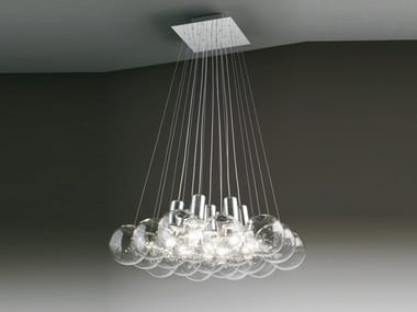 Lampada a sospensione a luce diretta alogena in cristallo SPHERE 19 | Lampada a sospensione