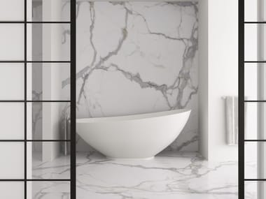 Ultra thin Techlam® wall/floor tiles with stone effect KALOS BIANCO