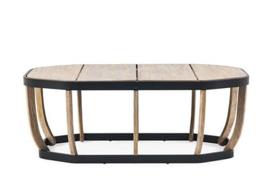 Low oval teak garden side table SWING | Low coffee table