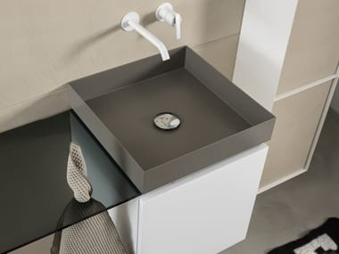 Contemporary style countertop square steel washbasin T20LM | Steel washbasin