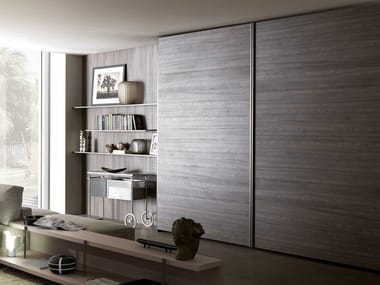 Sectional wardrobe with coplanar doors TECNO WOOD | Wardrobe with coplanar doors